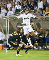 LOS ANGELES, CA – July 16, 2011: Raphael Varane (19) of Real Madrid during the match between LA Galaxy and Real Madrid at the Los Angeles Memorial Coliseum in Los Angeles, California. Final score Real Madrid 4, LA Galaxy 1.