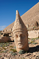 Statue head of  Antiochus, the 62 BC Royal Tomb of King Antiochus I Theos of Commagene, west Terrace, Mount Nemrut or Nemrud Dagi summit, near Adıyaman, Turkey