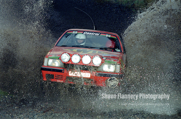 Pix: Shaun Flannery/shaunflanneryphotography.com...COPYRIGHT PICTURE>>SHAUN FLANNERY>01302-570814>>07778315553>>..1990 Lombard RAC Rally.Gavin Cox and Stuart Knight.Hamsterley Forest water splash.
