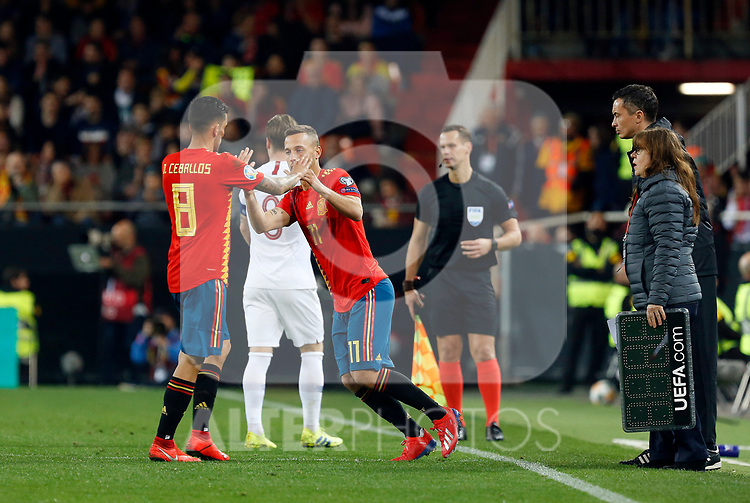 Spain's Daniel Ceballos and Spain's Sergio Canales during the Qualifiers - Group F to Euro 2020 football match between Spain and Norway on 23th March, 2019 in Valencia, Spain. (ALTERPHOTOS/Manu R.B.)