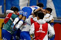 SANTIAGO DE CHILE - CHILE, 26-05-2021: Jugadores Universidad Catolica (CHL) celebran el segundo gol anotado a Atletico Nacional (COL), durante partido del grupo F, fecha 6 entre Universidad Catolica (CHL) y Atletico Nacional (COL) por la Copa CONMEBOL Libertadores 2021 en el Estadio San Carlos de Apoquindo de la ciudad de Santiago de Chile. / Players of Universidad Catolica (CHL), celebrate the second scored goal to Atletico Nacional (COL), during a match of the group F, 6th date beween Universidad Catolica (CHL) and Atletico Nacional (COL) for the CONMEBOL Libertadores Cup 2021 at the San Carlos de Apoquindo Stadium, in Santiago de Chile city.  / VizzorImage / Photosport / Marcelo Hernandez / Cont.