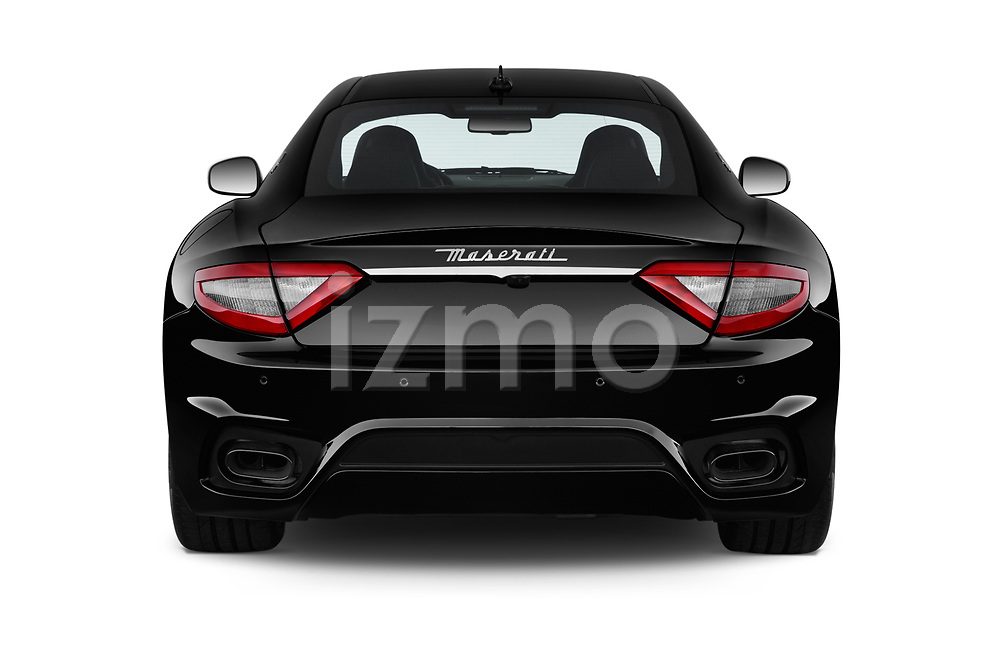 Straight rear view of a 2018 Maserati GranTurismo Automatic 2 Door Coupe stock images