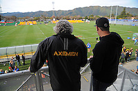Wellington fans watch from the grandstand during the Wellington Club Rugby Hardham Cup final between Northern United and Wellington RFC at Hutt Recreation Ground, Lower Hutt, Wellington, New Zealand on Sunday, 4 August 2013. Photo: Dave Lintott / lintottphoto.co.nz