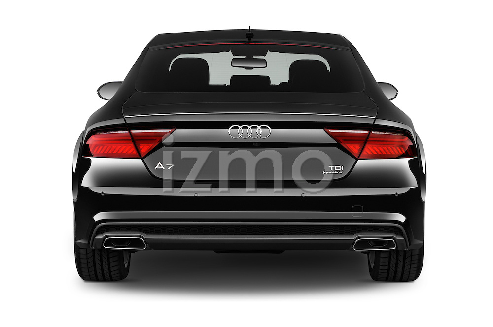Straight rear view of a 2015 Audi A7 S Line 5 Door Hatchback Rear View  stock images