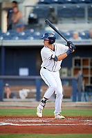 Charlotte Stone Crabs center fielder Josh Lowe (28) at bat during a game against the Bradenton Marauders on August 6, 2018 at Charlotte Sports Park in Port Charlotte, Florida.  Charlotte defeated Bradenton 2-1.  (Mike Janes/Four Seam Images)
