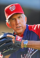 23 July 2011: Washington Nationals Manager Davey Johnson tosses some ball before batting practice prior to a game against the Los Angeles Dodgers at Dodger Stadium in Los Angeles, California. The Dodgers rallied to defeat the Nationals 7-6 on a Rafael Furcal walk-off, RBI double in the bottom of the 9th inning. Mandatory Credit: Ed Wolfstein Photo