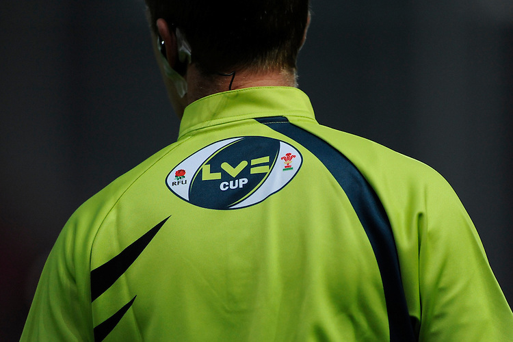 Corporate branding on the Assistant Referee's shirt during the LV= Cup first round match between Scarlets and Leicester Tigers at Parc y Scarlets (Photo by Rob Munro, Fotosports International)