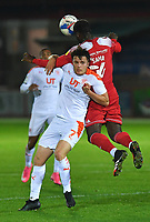 Blackpool's Oliver Sarkic battles with Accrington Stanley's Stephen Sama<br /> <br /> Photographer Dave Howarth/CameraSport<br /> <br /> EFL Trophy Northern Section Group G - Accrington Stanley v Blackpool - Tuesday 6th October 2020 - Crown Ground - Accrington<br />  <br /> World Copyright © 2020 CameraSport. All rights reserved. 43 Linden Ave. Countesthorpe. Leicester. England. LE8 5PG - Tel: +44 (0) 116 277 4147 - admin@camerasport.com - www.camerasport.com