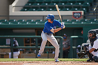 Toronto Blue Jays Tanner Morris (58) bats during a Florida Instructional League game against the Detroit Tigers on October 28, 2020 at Joker Marchant Stadium in Lakeland, Florida.  (Mike Janes/Four Seam Images)