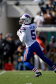 Buffalo Bills quarterback Tyrod Taylor (5) looks to pass during an NFL Wild-Card football game against the Jacksonville Jaguars, Sunday, January 7, 2018, in Jacksonville, Fla.  (Mike Janes Photography)
