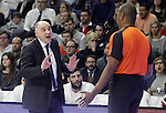 Real Madrid's coach Pablo Laso have words with the referee during Euroleague match.January 22,2015. (ALTERPHOTOS/Acero)