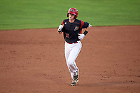 Batavia Muckdogs catcher Jared Barnes (26) running the bases after hitting a home run during a game against the Auburn Doubledays on August 26, 2017 at Dwyer Stadium in Batavia, New York.  Batavia defeated Auburn 5-4.  (Mike Janes/Four Seam Images)
