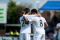 Jack Cork of Swansea City  and Leroy Fer of Swansea City  in action during the Pre Season friendly match between Swansea City and Rovers played at the Memorial Stadium, Bristol on July 23rd 2016