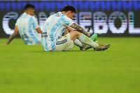 10th July 2021, Estádio do Maracanã, Rio de Janeiro, Brazil. Copa America tournament final, Argentina versus Brazil;  Lionel Messi of Argentina takes a break after the game