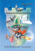 Interlitho, Lorella, REALISTIC ANIMALS, Halloween, paintings, flying cat, bats, ghost(KL3461,#A#)
