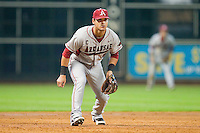 Arkansas Razorbacks third baseman Matt Reynolds #5 on defense against the Houston Cougars at Minute Maid Park on March 3, 2012 in Houston, Texas.  The Cougars defeated the Razorbacks 4-1.  (Brian Westerholt/Four Seam Images)