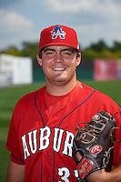Auburn Doubledays pitcher Kevin Mooney (33) poses for a photo before a game against the Batavia Muckdogs on September 7, 2015 at Falcon Park in Auburn, New York.  Auburn defeated Batavia 11-10 in ten innings.  (Mike Janes/Four Seam Images)