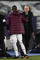 16th March 2021; Madrid, Spain; during the Champions League match, round of 16, between Real Madrid and Atalanta;  Zinedine Zidane and Sergio Ram