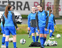 Genk pictured during the warm up before a female soccer game between Sporting Charleroi and KRC Genk on the 4 th matchday in play off 2 of the 2020 - 2021 season of Belgian Scooore Womens Super League , friday 30 th of April 2021  in Marcinelle , Belgium . PHOTO SPORTPIX.BE | SPP | Jill Delsaux