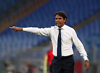Football, Serie A: S.S. Lazio - Brescia, Olympic stadium, Rome, July 29, 2020. <br /> Lazio's coach Simone Inzaghi speaks to his players during the Italian Serie A football match between S.S. Lazio and Brescia at Rome's Olympic stadium, Rome, on July 29, 2020. <br /> UPDATE IMAGES PRESS/Isabella Bonotto