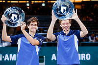 Rotterdam, The Netherlands, 15 Februari 2020, ABNAMRO World Tennis Tournament, Ahoy,<br /> Men's Doubles Final: Men's Doubles Final: Pierre-Hugues Herbert (FRA) and Nicolas Mahut (FRA) celebrate their win.<br /> Photo: www.tennisimages.com