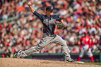 6 April 2014: Atlanta Braves pitcher Gus Schlosser on the mound against the Washington Nationals at Nationals Park in Washington, DC. The Nationals defeated the Braves 2-1 to salvage the last game of their 3-game series. Mandatory Credit: Ed Wolfstein Photo *** RAW (NEF) Image File Available ***