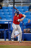 Fort Myers Miracle catcher Taylor Grzelakowski (22) at bat during a game against the Dunedin Blue Jays on April 17, 2018 at Dunedin Stadium in Dunedin, Florida.  Dunedin defeated Fort Myers 5-2.  (Mike Janes/Four Seam Images)