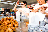 """Zeppoles, the crowd favorite, at the """"Dancing of the Children's Giglio"""" on July 7, 2006."""