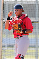 Boston Red Sox minor league player Jayson Hernandez  during a spring training game vs the Baltimore Orioles at the Buck O'Neil Complex in Sarasota, Florida;  March 22, 2011.  Photo By Mike Janes/Four Seam Images