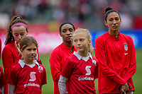 CARSON, CA - FEBRUARY 9: Rose Lavelle #16, Crystal Dunn #19 and Christen Press #20 of the United States during a game between Canada and USWNT at Dignity Health Sports Park on February 9, 2020 in Carson, California.