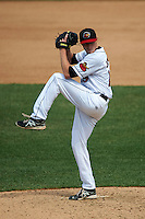 Rochester Red Wings pitcher Cole Johnson (19) delivers a pitch during a game against the Pawtucket Red Sox on July 1, 2015 at Frontier Field in Rochester, New York.  Rochester defeated Pawtucket 8-4.  (Mike Janes/Four Seam Images)