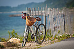 A bike with a wicker basket waits for its owner on the Shining Sea Bike Path, Falmouth, Cape Cod, MA, USA
