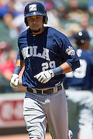 New Orleans Zephyrs shortstop Juan Diaz #29 jogs home after blasting a home run during the Pacific Coast League baseball game against the Round Rock Express on May 4, 2014 at the Dell Diamond in Round Rock, Texas. The Express defeated the Zephyrs 15-12. (Andrew Woolley/Four Seam Images)