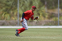 Washington Nationals Blake Perkins (27) during practice before a minor league Spring Training game against the St. Louis Cardinals on March 27, 2017 at the Roger Dean Stadium Complex in Jupiter, Florida.  (Mike Janes/Four Seam Images)