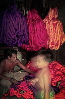 Sorting out colourful silk Myanmar, Mandalay 1996