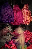 Sorting out colourful silk Myanmar, Mandalay 1996