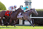 October 06, 2018 : A Raving Beauty (GER), ridden by John Velazquez, wins the 21st running of the G1 First Lady Stakes at Keeneland on October 6, 2018 in Lexington, Kentucky. Owner Medallion Racing, Nathan McCauley, Thomas Cornelison, Jerry McLanahan, Christopher Johnson, Trainer Chad Brown. Mary M. Meek/ESW/CSM