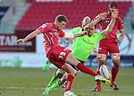 Munster fullback Felix Jones charges down Scarlets replacement Rhys Priestland kick.<br /> Guiness Pro12<br /> Scarlets v Munster<br /> 21.02.15<br /> ©Steve Pope -SPORTINGWALES