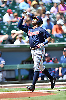 Gwinnett Braves right fielder Mel Rojas Jr. (24) celebrates after hitting a home run during a game against the Charlotte Knights at BB&T Ballpark on May 7, 2017 in Charlotte, North Carolina. The Knights defeated the Braves 7-1. (Tony Farlow/Four Seam Images)