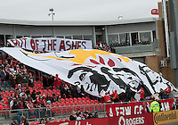 24 March 2012: The Toronto FC Fans show their support during the opening ceremonies in a game between the San Jose Earthquakes and Toronto FC at BMO Field in Toronto..The San Jose Earthquakes won 3-0..