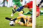 05.10.2019,  GER; 2. FBL, Hamburger SV vs SpVgg Greuther Fuerth ,DFL REGULATIONS PROHIBIT ANY USE OF PHOTOGRAPHS AS IMAGE SEQUENCES AND/OR QUASI-VIDEO, im Bild Torhueter Sascha Burchert(Fuerth #30) verteidigt erfolgreich sein Tor gegen die Spieler des HSV Foto © nordphoto / Witke *** Local Caption ***