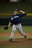 AZL Brewers relief pitcher Michael Mediavilla (25) delivers a pitch during an Arizona League game against the AZL Cubs 1 at Sloan Park on June 29, 2018 in Mesa, Arizona. The AZL Cubs 1 defeated the AZL Brewers 7-1. (Zachary Lucy/Four Seam Images)