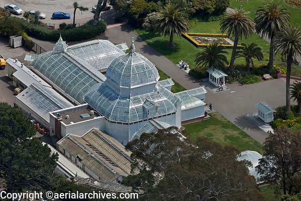 aerial photograph of the Conservatory of Flowers,  Golden Gate Park, San Francisco, California