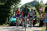 The breakaway led by Thomas Voeckler (FRA) Team Europcar with Luis León Sánchez (ESP) Rabobank, Dries Devenyns (BEL) Omega Pharma-Quick Step and Michele Scarponi (ITA) Lampre-ISD climbs Col du Grand Colombier during Stage 10 of the 99th edition of the Tour de France 2012, running 194.5km from Macon to Bellegarde-sur-Valserine, France. 11th July 2012.<br /> (Photo by Thomas van Bracht/NEWSFILE)