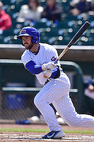 Matt Szczur (8) of the New Orleans Zephyrs swings at pitch against the Iowa Cubs at Principal Park on April 23, 2015 in Des Moines, Iowa.  The Zephyrs won 9-2.  (Dennis Hubbard/Four Seam Images)