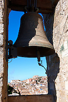 Bell of Torre de Re Frederico 2nd, Érice Duomo [Erice cathedral], Sicily stock photos.