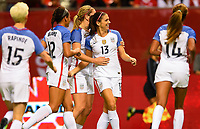 Vancouver, Canada - Thursday November 09, 2017: Alex Morgan scores a goal and celebrates during an International friendly match between the Women's National teams of the United States (USA) and Canada (CAN) at BC Place.