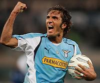 Roma 12/2/2005 Campionato Italiano Serie A <br /> Lazio Atalanta 2-1 <br /> Fabio Bazzani celebrates his goal of draw.<br /> fabio Bazzani festeggia il gol del pareggio <br /> Photo Fabrizio Corradetti Insidefoto