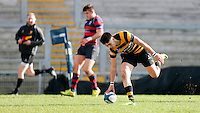 Monday 27th February 2017 | ULSTER SCHOOLS CUP SEMI-FINAL<br /> <br /> Zak Davidson scores the first try during the Ulster Schools Cup Semi-Final between RBAI and Ballymena Academy  at Kingspan Stadium, Ravenhill Park, Belfast, Northern Ireland. <br /> <br /> Photograph by John Dickson | www.dicksondigital.com