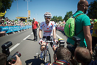 polka dot jersey wearer Thomas De Gendt (BEL/Lotto-Soudal) is one of the first ones at the start<br /> <br /> stage 15: Bourg-en-Bresse to Culoz (160km)<br /> 103rd Tour de France 2016